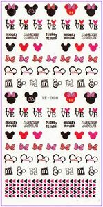 Nail-Art-Water-Decals-Stickers-Transfers-Red-Bows-Hearts-Minnie-Mickey-Mouse-190