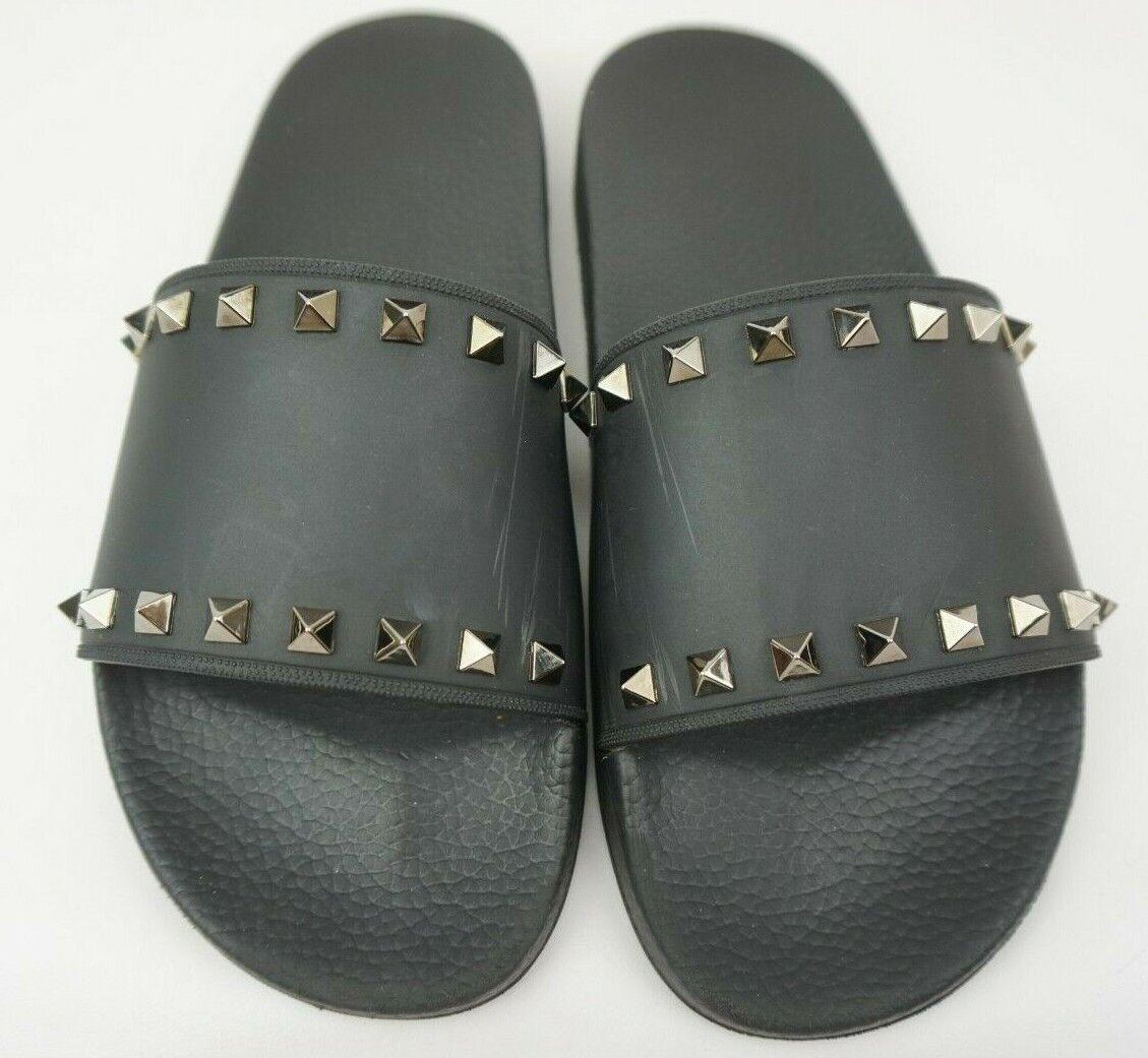 Valentino Mujer Rockstud Slide Negro PVC Sandalias Eu