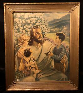 Vintage-Gilded-Wood-Frame-Warner-Sallman-Lithograph-1954-Jesus-Christ-Print