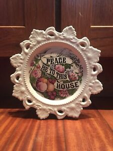 Currier-amp-Ives-Peace-Be-To-This-House-Antique-Wall-Decor-Vintage-Ceramic-Plate