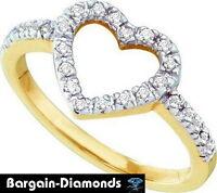 Diamond Heart 10k Yellow Gold Ring Love Promise .20 Carats