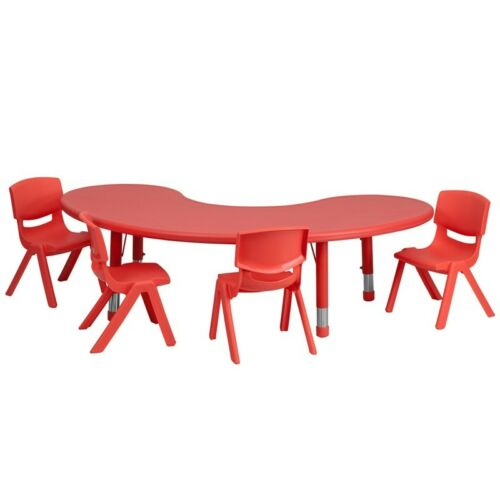"""35/'/' x 65/'/' Kidney Height Adjustable Red Activity Table Set with Four 10/"""" Chairs"""
