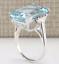 thumbnail 3 - Transparent Sea Blue 14.32CT Aquamarine With White CZ Party Fashion Women's Ring