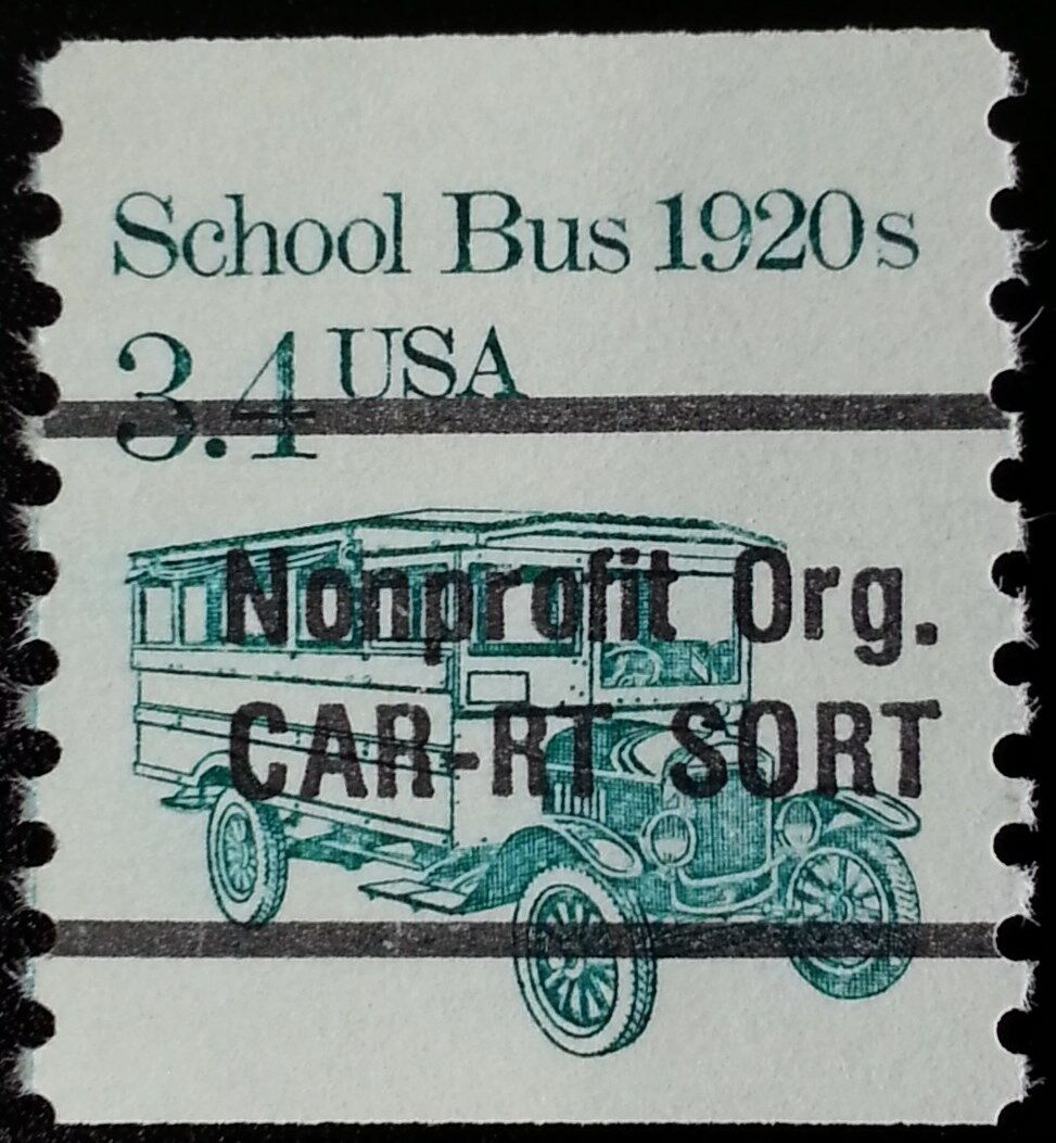 1985 3.4c School Bus, Precancel Scott 2123a Mint F/VF N