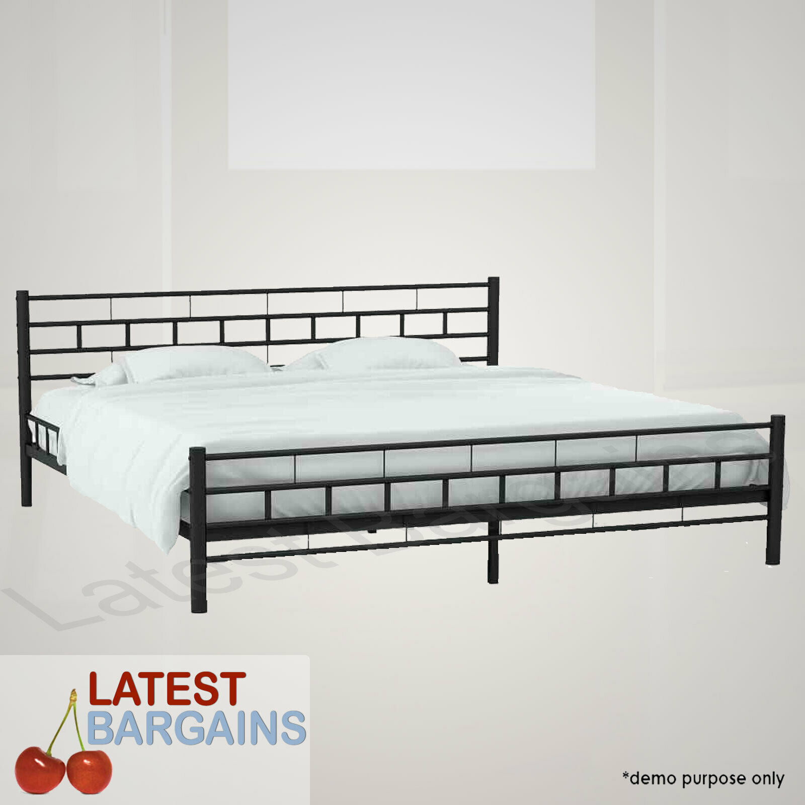 Black Metal Bed Frame Queen Size Modern Timber Slats Bedroom Furniture For Sale Online