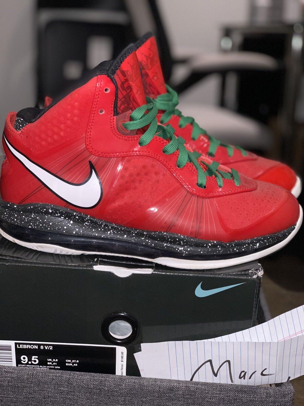 Nike LeBron VIII 8 V 2 Christmas (429676-600)Red Black White Size 9.5