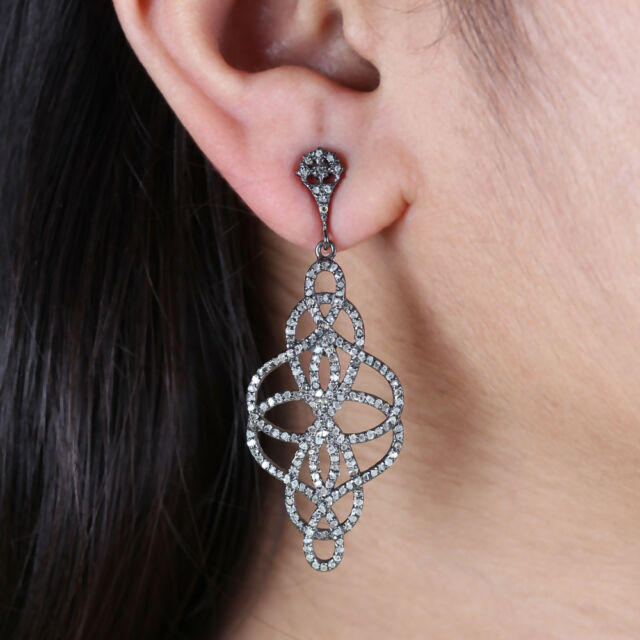 925 Sterling Silver Real Pave Diamond Dangle Drop Earrings Handmade Jewelry Gift