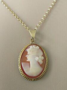 Collar de Oro de 9ct - 9ct Oro Amarillo Oval Camafeo Colgante De Concha & Cadena