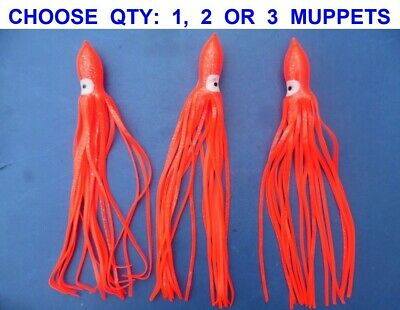 ORANGE 5 INCH SEA FISHING MUPPETS//SQUID//0CTOPUS
