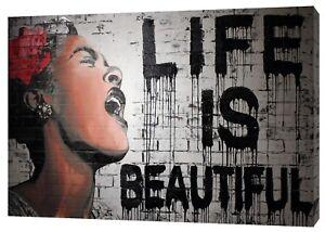 Banksy Graffiti Life Is Beautiful Print On Wood Framed Canvas Wall Art Decor Ebay