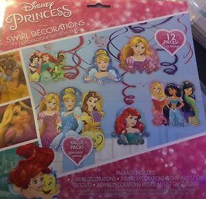 Details About 12 Piece Disney Princess Hanging Swirls Ariel Jasmine Birthday Party Decorations