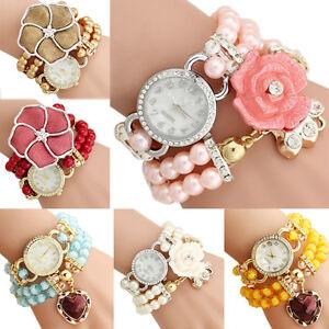 Fashion-Women-Flower-Pearl-Bracelet-Watch-Ladies-Girl-Dress-Quartz-Wrist-Watches