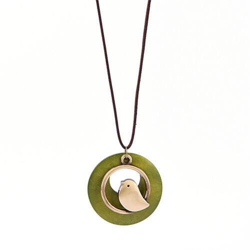 Mode frauen Vogel Holzperle Anhänger Vintage Lange Halskette Geschenk  HVM0HWC