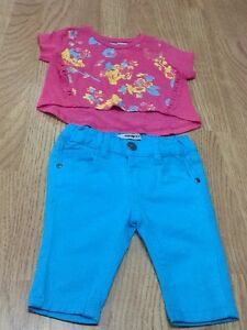 4fd0e1e98131 Baby Girl Size 6-9 Months Pink Top   Turquoise Trousers - Brand New ...