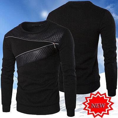 New Men/'s Fashion Sweatshirt Jacket Sweats Leather Sleeve Splice Cardigan Coats