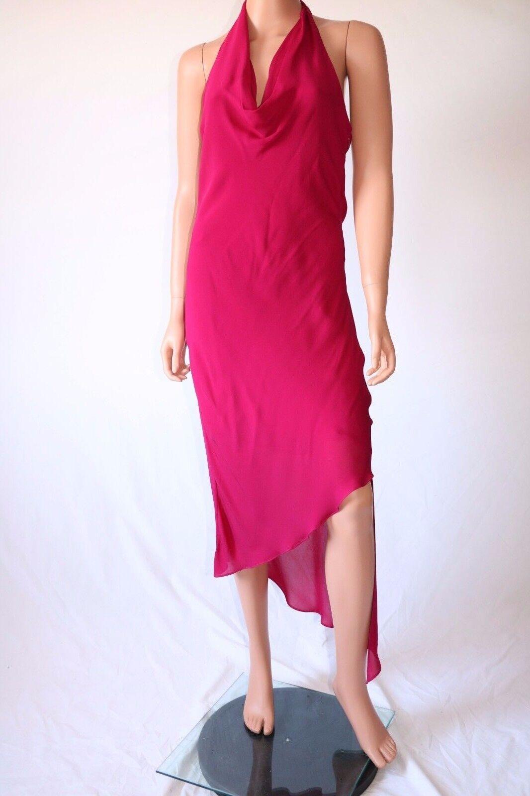 Haute Hippie Cranberry Halter Open Back Asymmetrical Hem Cocktail Dress