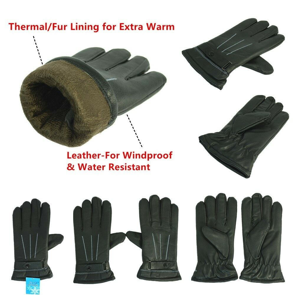 Lot Windproof Unisex Winter Cycling Outdoor Thermal Fur Lining Leder Windproof Lot Gloves fc17ba