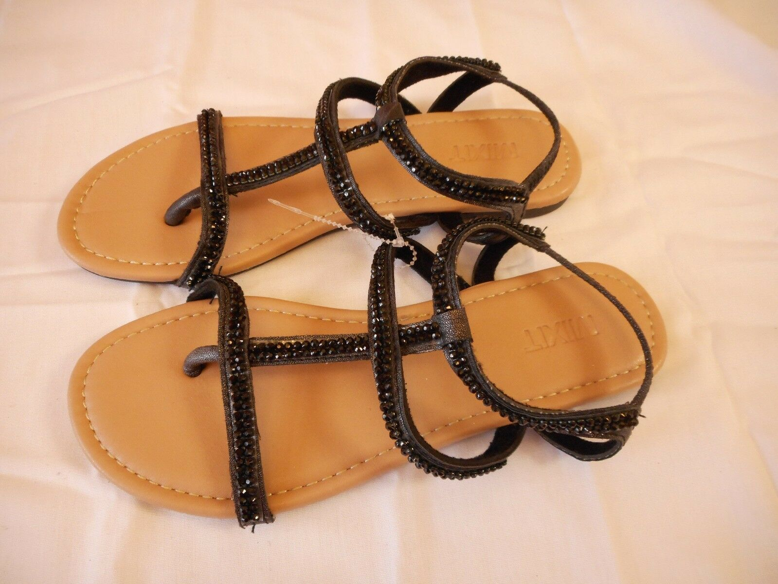 Women's Mixit  Strappy Bling Size Slide Sandals Black  Size Bling 10 NEW 3b0dfa