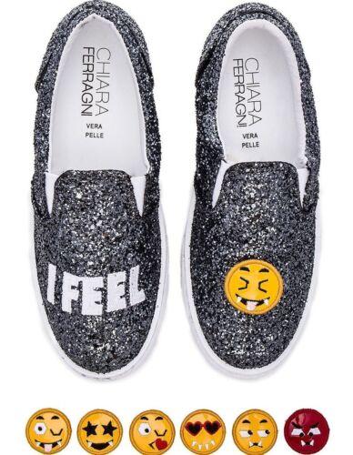CHIARA FERRAGNI Gray Glitter Sparkle I Feel Emoji Slip On Flats Sneaker CF711
