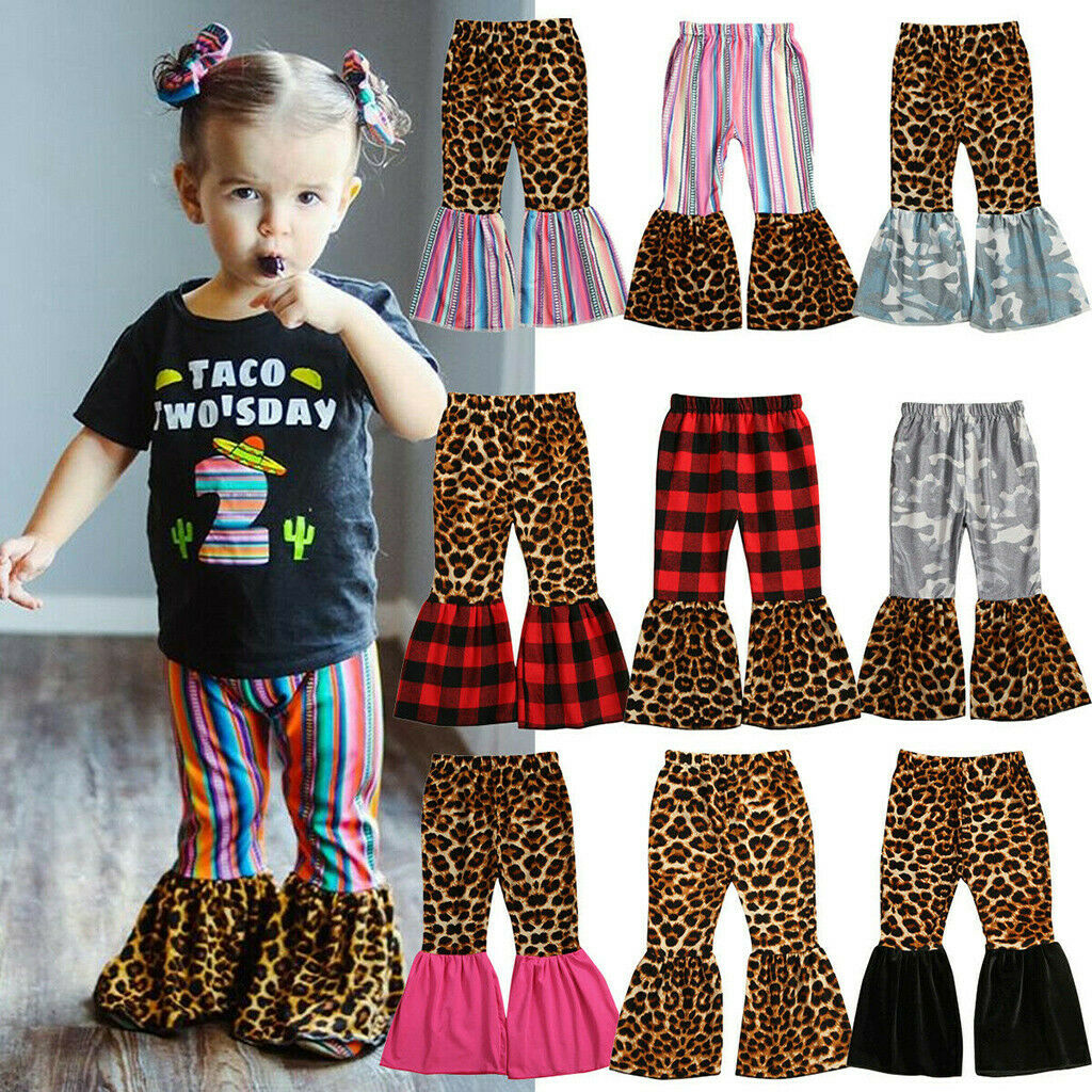 Zoiuytrg Toddler Baby Girl Pants Solid//Tie Dye//Leopard Printing Velvet Bell Bottoms Jeans Flare Pant Leggings Outfits
