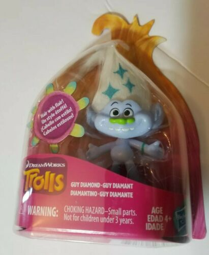 NIP Dreamworks Trolls Guy Diamond Figure Hair with Flair Series