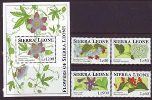 SIERRA-LEONE-1993-FLOWERS-SET-4-MINISHEET-Part-2-MINT-NEVERHINGED