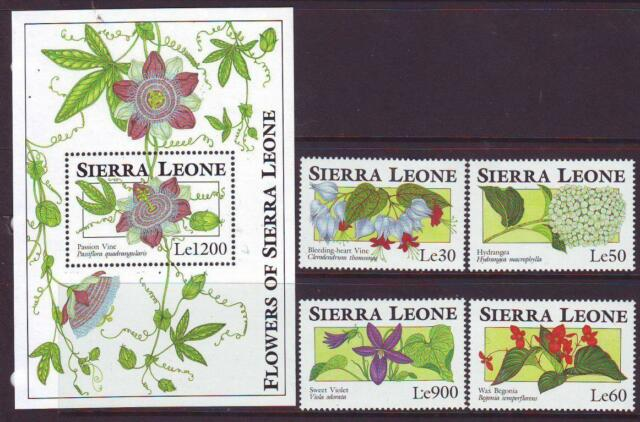 SIERRA LEONE 1993 FLOWERS   SET 4 + MINISHEET Part 2 MINT NEVERHINGED