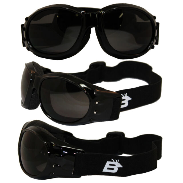 Birdz Buzzard Black Frame Motorcycle Goggles w// Clear Shatterproof Anti-Fog Lens