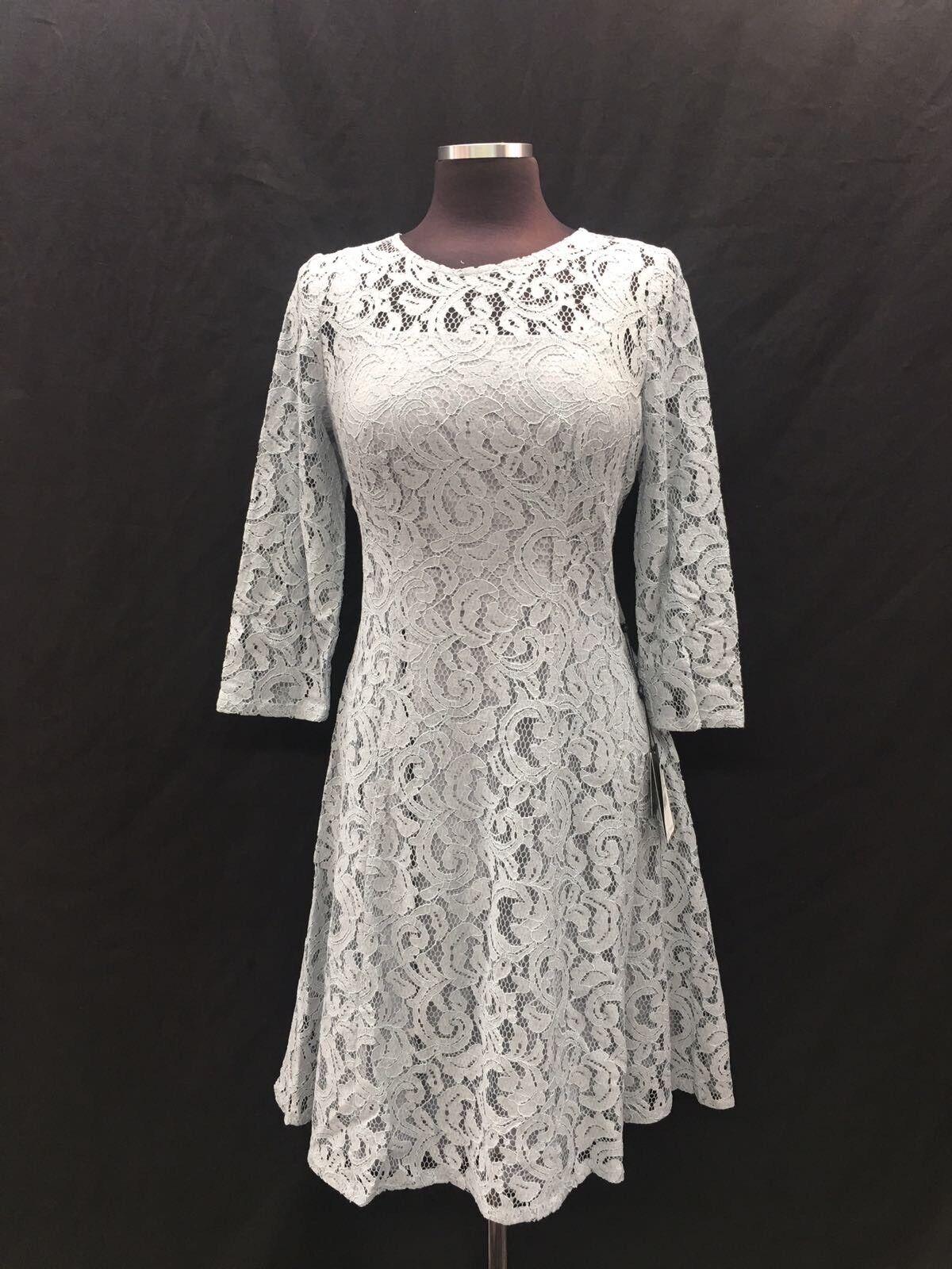93ade7047416f0 Adrianna Papell Kleid Neu mit Etikett Größe 8 Einzelhandel Silber Spitze  683ee2