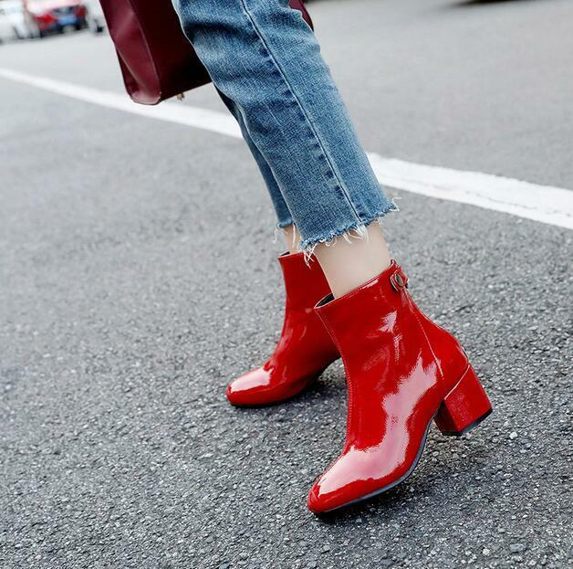Women Square Toe High Heels Chunky Patent Leather Zip Ankle Boots Ske15