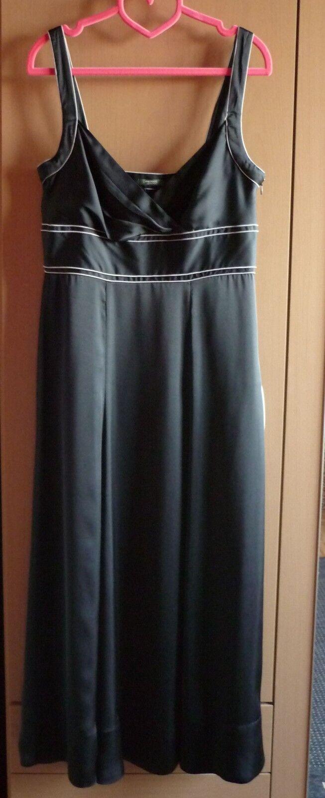 Lange zwarte satijnen jurk Maat 38 NIEUW
