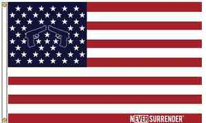 Never-Surrender-100-MADE-IN-THE-USA-Nylon-Flag-3-039-x5-039
