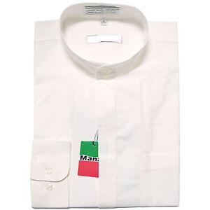 New-men-039-s-shirt-dress-formal-banded-nehru-collar-long-sleeve-prom-wedding-white