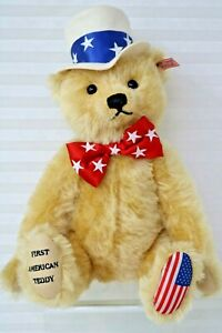 "Steiff First American Teddy Bear 2003 New COA Box Growler 15"" Jointed Tag In Ear"