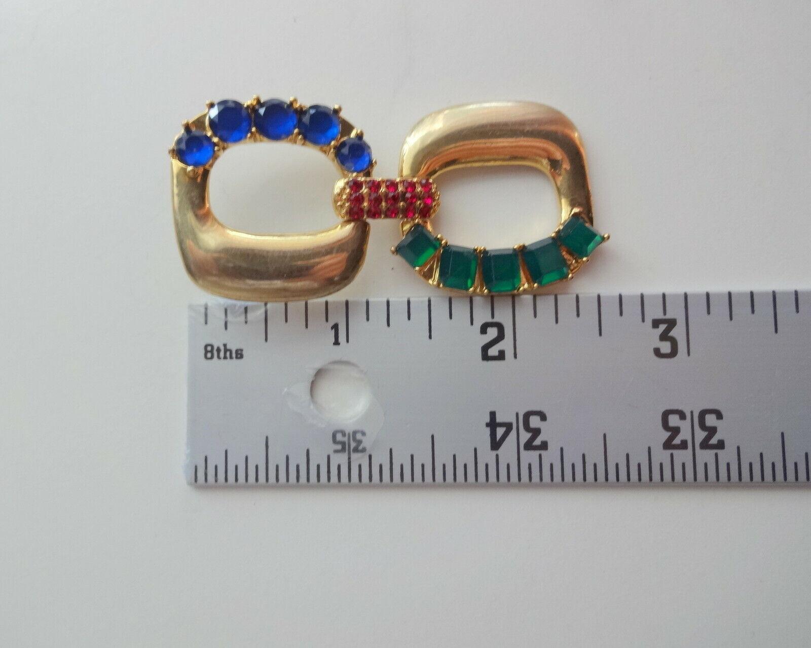 Vtg Arnold Scaasi Couture Color Crystal Big Dangl… - image 5
