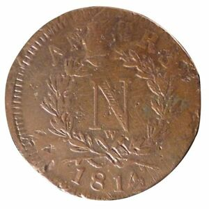 [#11102] FRENCH STATES, 10 Centimes, 1814, Antwerp, KM #5.4, VF(20-25), Bronze - France - Composition: Bronze Year: 1814 - France