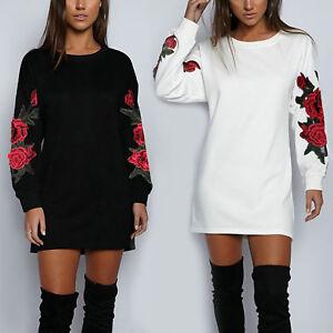 Damen-Pullover-Longpulli-Bluse-T-Shirt-Shirts-Pulli-Pulloverkleid-Blumen-NEU