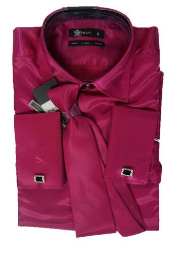 Voeut Shiny Lipstick Shirt Set 2 pc Shirt Tie Stage Fancy Dress Shiny Shirt