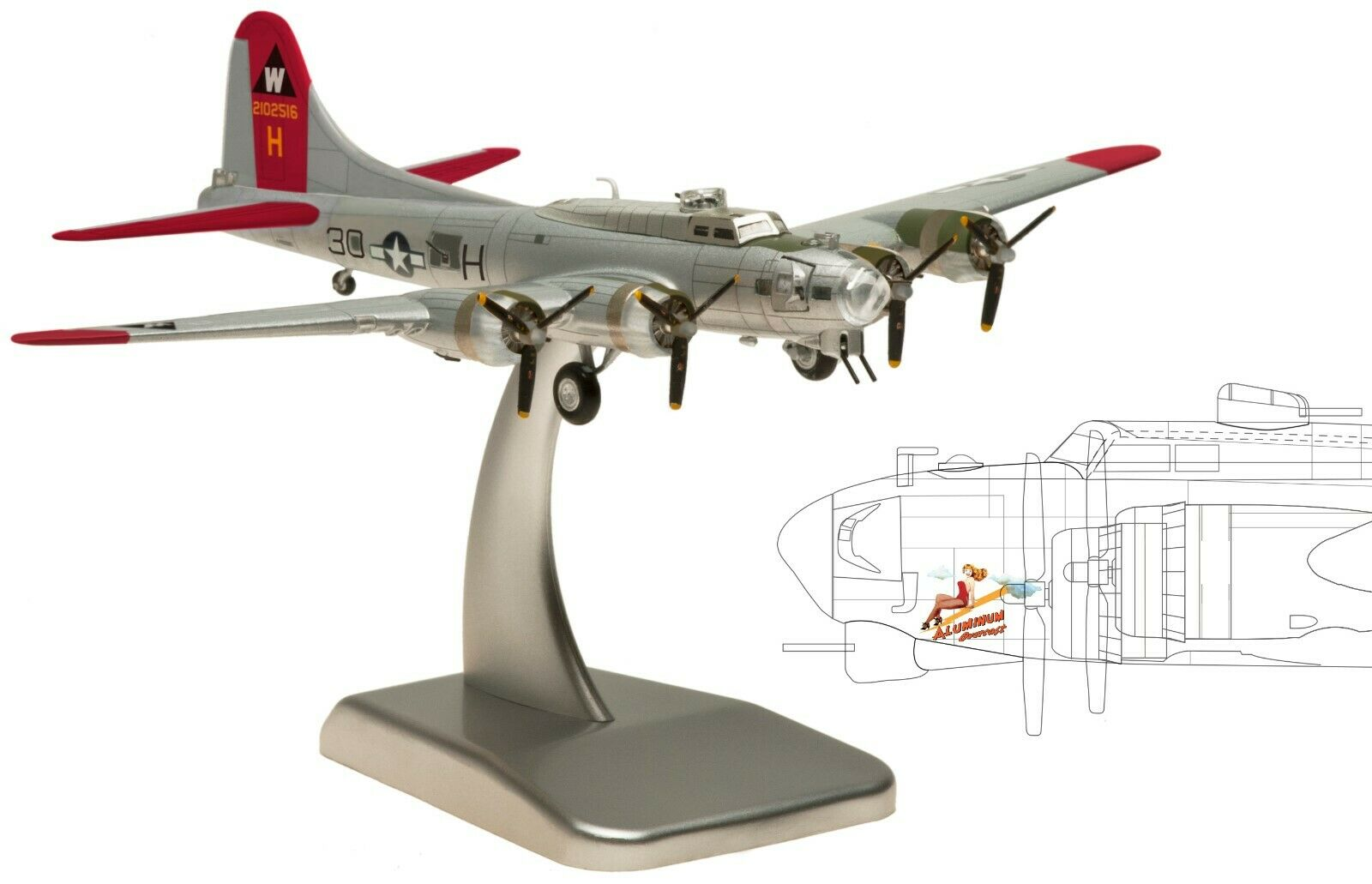 Hogan 1 200 boeing b-17g Flying Fortress, USAAC, avión modelo, embalaje original, nuevo