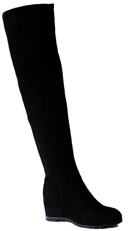 Damen Stiefel Overknees Keilabsatz flache überknie und flache Keilabsatz hohe f3d8ad