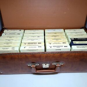 Lot of 24 Vintage 8-track Cassettes With Hard Case, Dolly Parton, etc...
