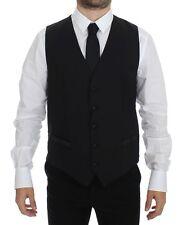 NWT $360 DOLCE & GABBANA Black Wool Silk Dress Vest Gilet Jacket IT44/ US34 / XS