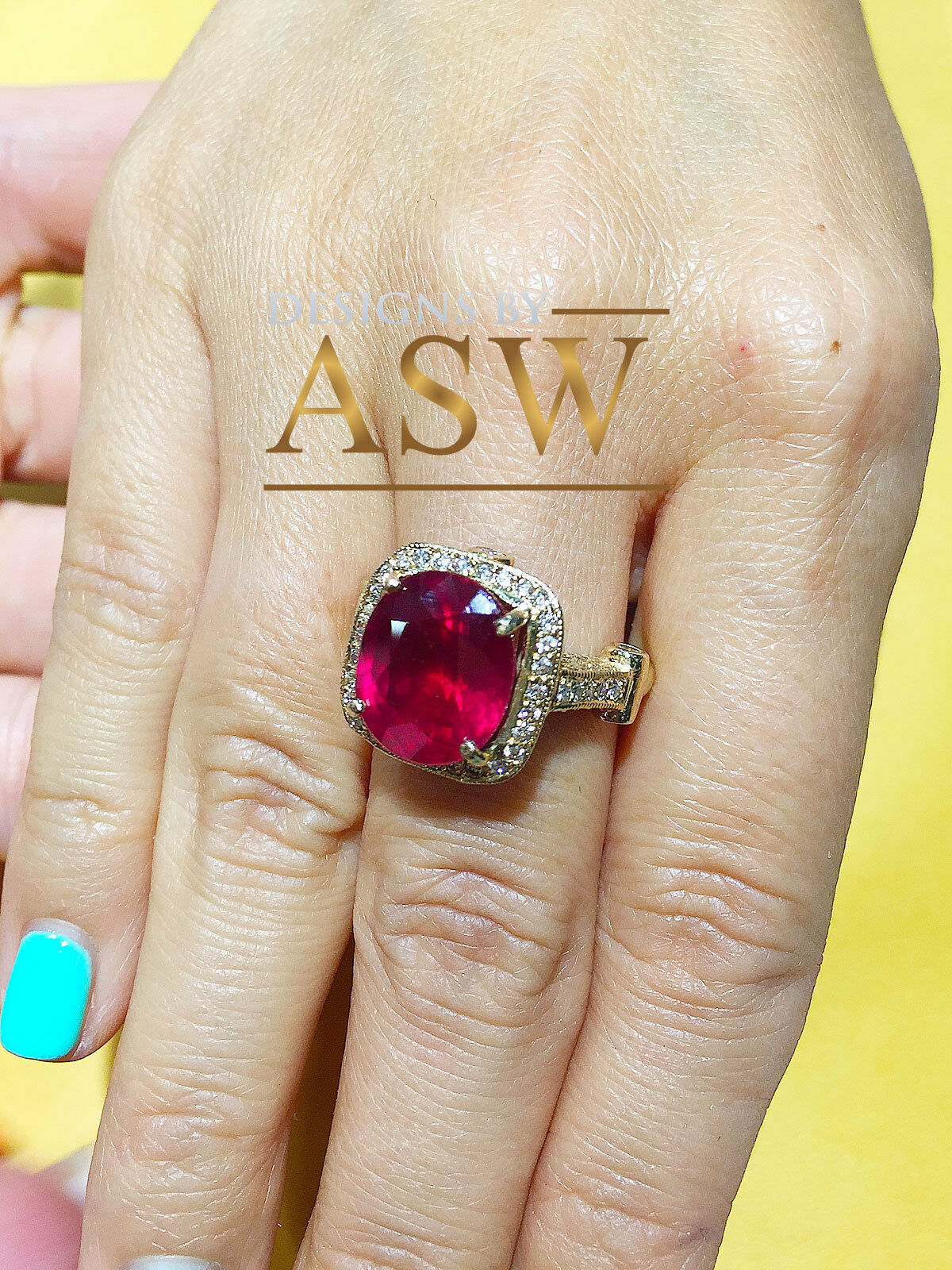 14k Yellow gold Oval Cut Ruby And Diamond Antique Design Halo Deco Ring 8.50ctw
