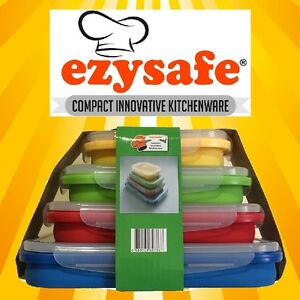 Ezysafe-Food-Storage-Containers-4-Rectangle-Silicone-Storage-Camping-Collapsible
