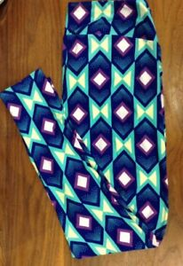 d41c24a9318a18 Lularoe women's leggings Tall & Curvy TC PRINT Blue Turquoise ...