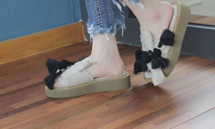 OverGröße Bow Linen Jersey with Pom Pom Fringe Slip-Ons Loafers Sneakers Slippers