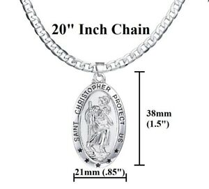 925-Sterling-Silver-Mens-Women-039-s-20-034-Link-Chain-Necklace-Oval-Saint-Christopher