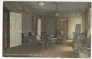 Ladies-Parlor-BPO-Elks-Home-APOLLO-PA-Armstrong-County-Pennsylvania-Postcard