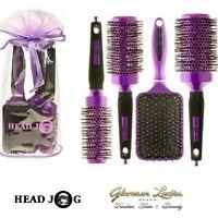 Head Jog Purple Hair Brush Set, Paddle, Radial, Ceramic, Ionic, Gift Bag