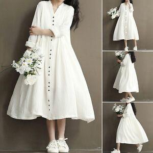 f50ef3f5a74 Women Summer Cotton Linen Loose Casual Tunic Button Down Maxi Dress ...